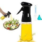 Olio spray, olio spray per cooking, BBQ Cooking Spray, bottiglia spray per olio con pennello e nebulizzatore, bottiglia spray per olio, per kitchen, Baking, roasting, pasta, salad (210 ml, nero)