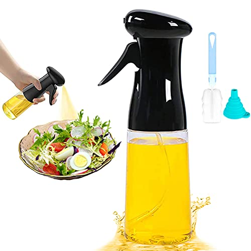 Pulverizador de aceite de oliva para cocinar, barbacoa, botella de espray de aceite con cepillo y chispa, botella de spray para cocina, asado, asado, pasta, ensalada (210 ml), color negro