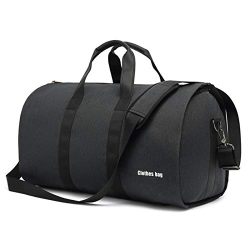 YMG 2 in 1 Hanging Suitcase Suit Travel Bags,Convertible Garment Bag with Shoulder Strap, Carry on Garment Duffel Bag for Men and Women,Black