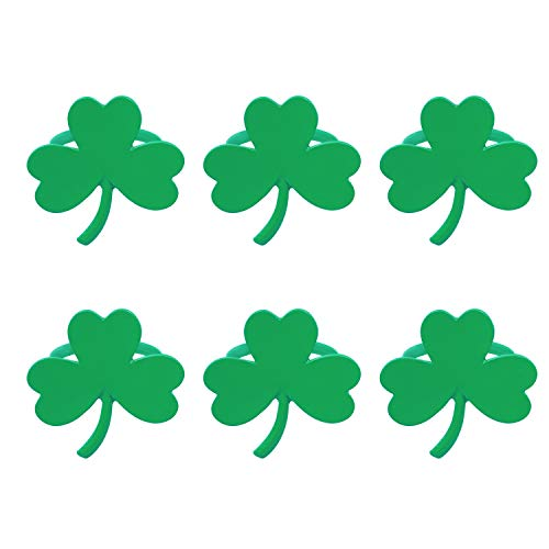 D-buy 6 Pack Shamrock Napkin Rings, St. Patrick's Day Napkin Rings, Table Decorations for St. Patrick's Day Theme Parties Spring Birthday Daily Dinner Party Decor Favor(St. Patrick's Shamrock)