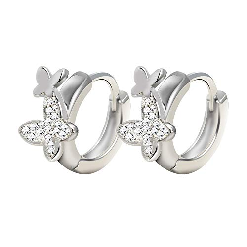 925 Sterling Silver Drop Earrings Zircon Butterfly For Party Decoratio for wome,Earrings from Daughter Son Birthday Jewelry Presents(sliver)