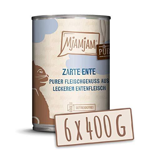 MjAMjAM - Premium Nassfutter für Katzen - purer Fleischgenuss - zartes Ente pur, 6er Pack (6 x 400 g), getreidefrei mit extra viel Fleisch