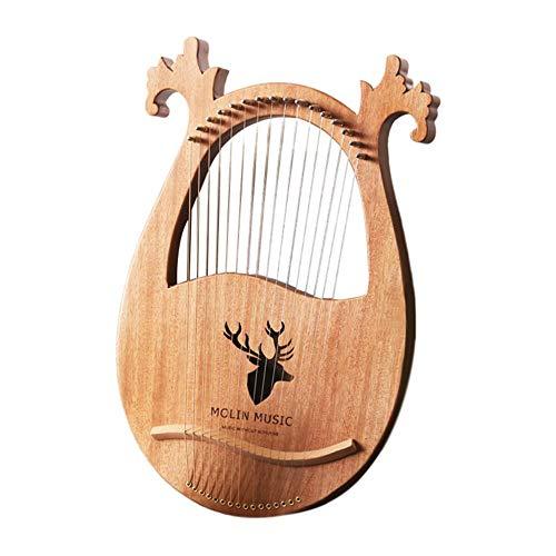 Knowled Kleine Harfe,Tragbare Lyre Harp 16 String Kleine Leierharfe,Harfe Metallsaiten, Mahagoni Lye Harfe, mit Stimmschlüssel und Schwarz Gig Bag, Großes Geschenk für Anfänger