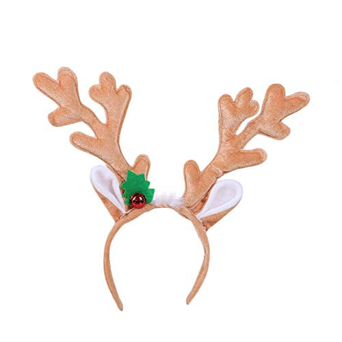 Diadema Navideña Reno Asta Campana Pelo Aro Banda Para La Cabeza Broche Largo Lindo Sombreros Disfraz Accesorios Decoración Navidad,Khaki