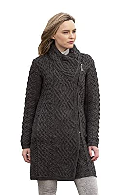 Aran Crafts Women's Irish Soft Cable Knitted Wool Side Zip Coat (Z4631-MED-CHAR) Charcoal by Aran Crafts