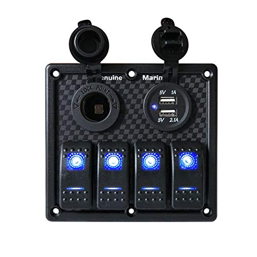 THALASSA 4 Gang Rocket Switch Panel Blue LED Indicator, Waterproof with 15A Fuse 5V Dual 2.1A USB Charger Socket for DC 12V/24V Marine Boat Car Rv Vehicles Truck