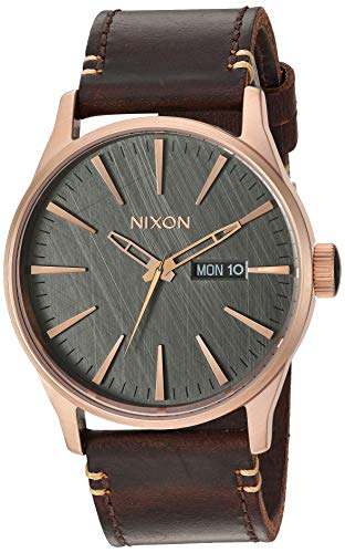 NIXON Men's Stainless Steel Japanese Quartz Fitness Watch with Leather Strap, Rose Gold, 23 (Model: A1052001-00)