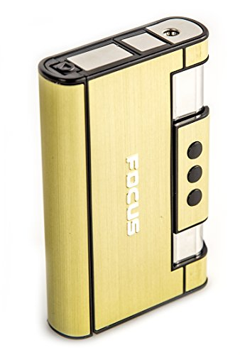 Zigaretten-Etui Feuer-Zeug 2 in 1 Box Gold Zigaretten-Schachtel Kippen Lighter Brenner Schieber Sturm-Feuerzeug Zigaretten-Schutz Wieder-Auffüllbar 8 Zigaretten
