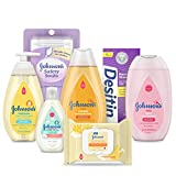 Johnson's Bath Discovery Gift Set for Parents-to-Be, Caddy with Baby Bath Time & Skin Care Essentials, Includes Baby Wash, Shampoo, Wipes, Lotion & Diaper Rash Cream, 7 Items