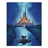 Alfiudad Kits de pintura de diamantes, cuadros de pintura, pintura de diamante, bordado de cristal, estrás, bordado para casa, pared y decoración de entrada (Mickey Castle)
