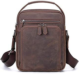 TOOGOO Men Bag Shoulder Crossbody Genuine Leather Messenger Bag Retro Small Male Pack Back Flap Business Travel Handbags Gift Black