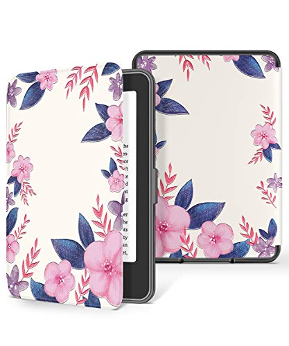 GVIEWIN Kindle Paperwhite Case, Water-Safe Flowers Pattern Leather PC Hard Shell Cover fits all Paperwhite Generations Prior to 2018 (Not fit All-New Paperwhite 10th Gen), White/Purple