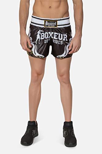 Lucha del Boxeador Des Rues Activewear Pantalones Cortos Kick-Tailandés con Símbolos Tribales, Camuflaje, M