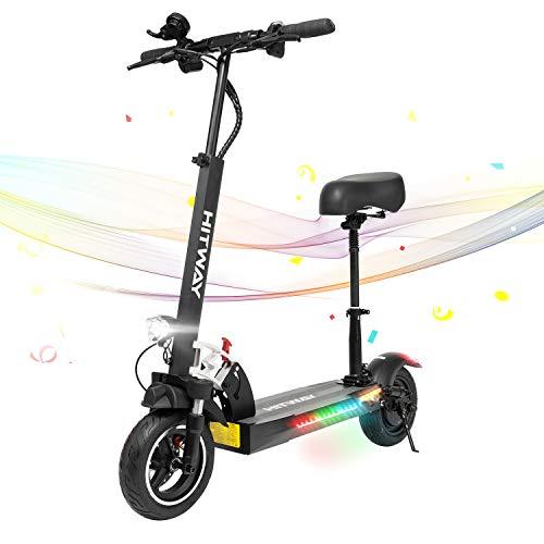 HITWAY Patinete eléctrico, 800 W, 45 km/h, 40 km, Scooter eléctrico Plegable con Pantalla LCD, batería de Iones de Litio de 10 Ah, para Adolescentes y Adultos (negro01)