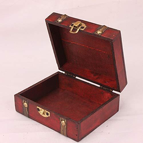 Wffo Caja de joyería Funcional y sólida, Caja de Madera Vintage Hecha a Mano con Mini Cerradura de Metal para Guardar Joyas y Tesoros