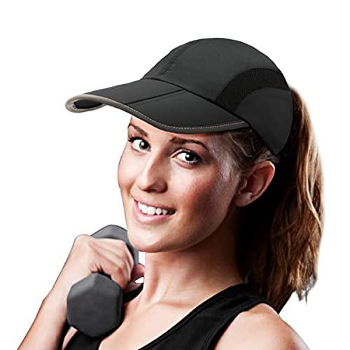 R'Patriots Foldable Baseball Running Hat with Reflective Strap Made of UPF50+ Nylon (Black)