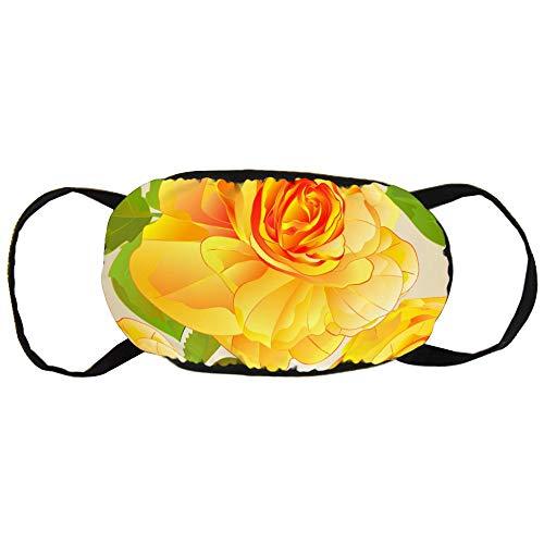 Seamless Texture Rose Geel en Leaves Nature Cotton Gezichtsmasker Mouth met Fashion Design Anti Dusk Face Maks Earloops Herbruikbaar Mouth Muffle Mask