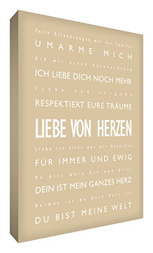 Little Helper LVDP2436-01G Feel Good Art Tableau sur toile avec citations sur l'amour en langue allemande Typographie moderne Beige 91 x 60 cm