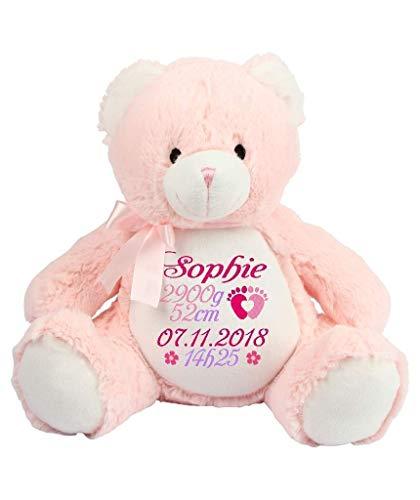 Peluche - ours rose personnaliser avec broderie, cadeau pour naissance, baptême, fêtes, Noël, brodé, personnalisé, doudou prénom