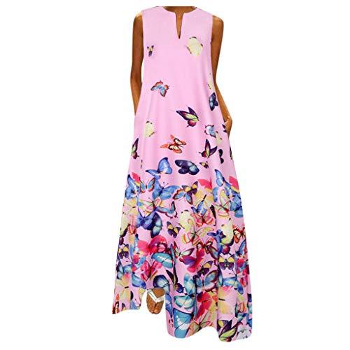 Kleider Rotes Kleid Brautmutterkleider Kleid Vintage Sexy Kleider Damen Tunikakleider Vintage Kleidung Damen Kleid Damen Sommer Kurz Sommerkleider Damen Lange Kleider Damen Fitness(Rosa,3XL)