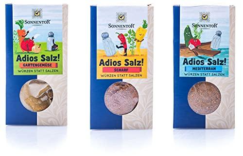 Sonnentor Gewürze | 3er Set Adios Salz: Gemüsemischung scharf (50g), Gartengemüse (60g), mediterran (55g)