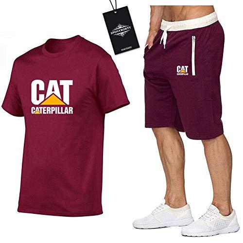 MAUXIAO Hombres Y Mujer Camiseta Bermudas Chandal Conjunto por Ca.Ter_Pillar-s Dos Piezas Corto Manga Tee Pantalones Ropa Deportiva X/Rojo/XL
