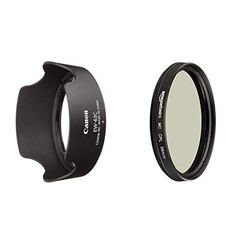 Canon EW-63C Streulichtblende (EF-S 18-55mm f/3.5-5.6 is STM Objektiv) schwarz & AmazonBasics Zirkularer Polarisationsfilter - 58mm