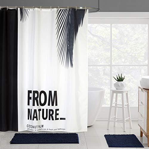 JRing Duschvorhang Textil 180x200 Grau Feder Schimmelresistenter & Wasserabweisend Shower Curtain mit 12 Weiß Duschvorhangringen