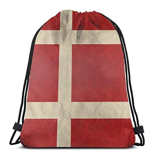 OPLKJ Bolsas con cordón unisex, Mochila plegable con bandera danesa Bolsa de gimnasio Bolsa de cincho Bages de almacenamiento para mujer Deporte Bolsa de gimnasio Bolsa de mochila con cordón multifun