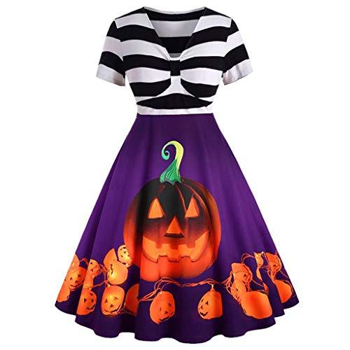 RISTHY Vestidos de Halloween para Mujer Manga Corta Rayas/Encaje Calabaza Disfraz de...