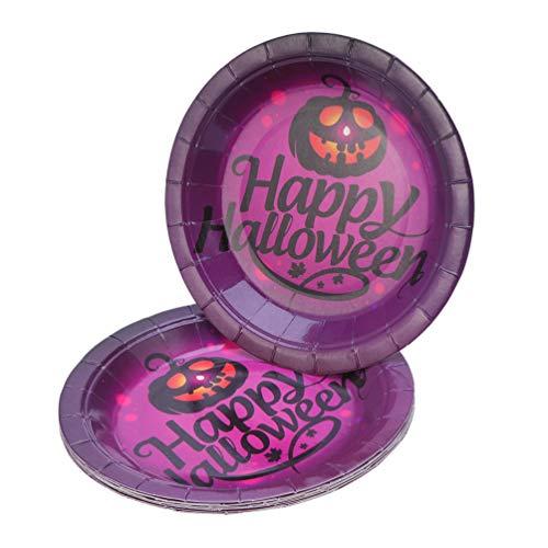 PRETYZOOM 10 Stück Halloween Party Teller Happy Halloween Jack O Laterne Muster Einweg Pappteller