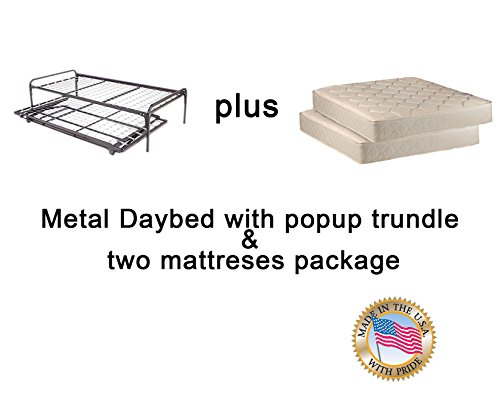 Dream Solutions Twin Size Metal Day Bed (Daybed) Frame & Pop up Trundle with Great Firm Mattresses...