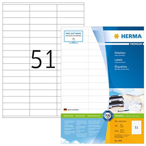 HERMA 4459 Universal Etiketten DIN A4 klein (70 x 16,9 mm, 100 Blatt, Papier, matt) selbstklebend, bedruckbar, permanent haftende Adressaufkleber, 5.100 Klebeetiketten, weiß