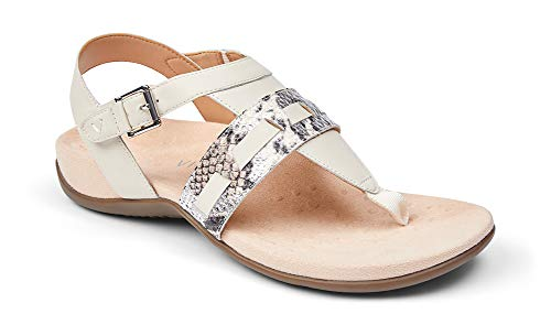 Vionic Women's Lupe Flat Sandal - with hook and loop closure and Concealed Orthotic Arch Support Cream Boa 9.5 Wide US