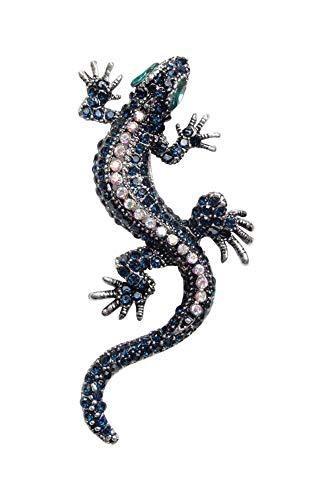 Broche de estilo lagarto de acero y pedrería de cristal azul noche y blanco.