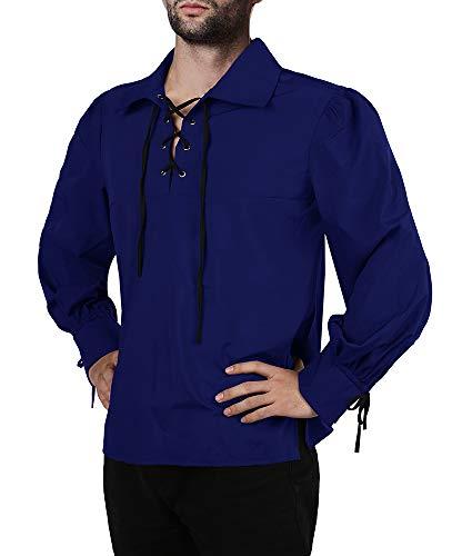 Mens Medieval Pirate Shirt Viking Renaissance Lace up Halloween Mercenary Scottish Jacobite Ghillie Tops (Small, 01 Blue)