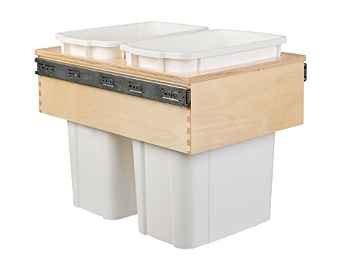 Century Components CASTM14PF Kitchen Pull Out Waste Bin Container - 35 Qt White Double - Baltic Birch - Top Mount