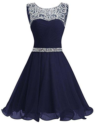 La_mia Braut Damen Navy Blau Chiffon Pailletten Kurzes Jugendweihe Kleider Abendkleider Partykleider Festlichkleider-42 Navy Blau