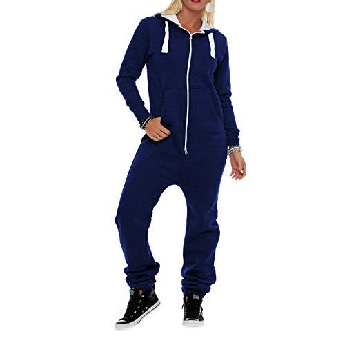 Damen Jumpsuit Fleece Schlafanzug Frau Traininganzug Onesie Schönes elegente Playsuit Damen Einteiler Onesie Overalls Hoodies Nachtwäsche (X-Large, Dunkelblau)