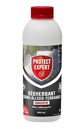PROTECT EXPERT PROCOUR800 Désherbant Petites Cours Allées Concentre 800 ML Agit par Contact Et Permet D'éliminer Les Mauvaises Herbes Et Mousses,