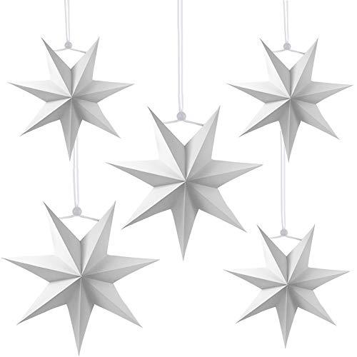 5pcs Estrella de Papel Decorativo,25cm,40cm Papel Estrellas decoración de Navidad,Estrellas decorativas para papel,Estrella de papel de Navidad,Papel 3D diseño de estrella