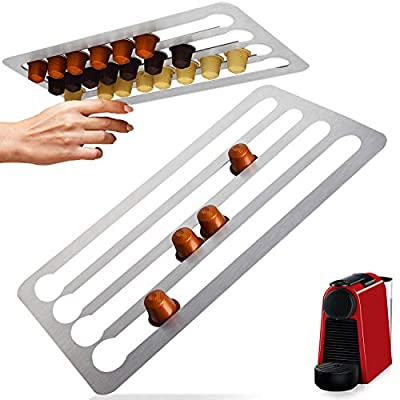 """Stainless Steel Capsule Holder Compatible with Nespresso Pods, Vertically or Horizontally Mounted on Walls or Under Cabinets, 16""""L x 8.6""""W (41cm x 22 cm"""