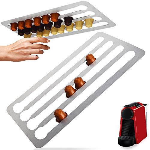 Edelstahl-Kapselhalter für Nespresso-Kapseln, vertikal oder horizontal an Wänden oder unter Schränken montiert, 41 cm L x 22 cm B Nespresso-kompatibel, Aufbewahrung für 44