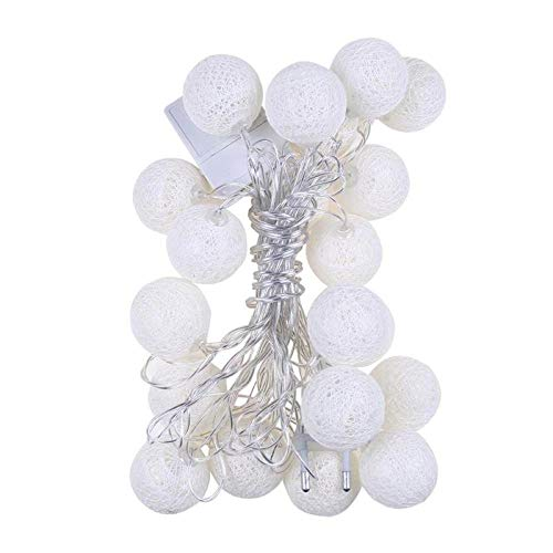 8 Modes 20LED Cotton Ball Garland Lights String Christmas Xmas Outdoor Holiday Wedding Party Baby Bed Fairy Lights Decoration-Beige