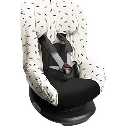 Dooky Black Feather Funda De Asiento Infantil (Ajuste Universal Para Muchos Modelos Populares, Grupo De Edad 1+ 9-18 Kg, Sistema De Cinturón De 3 Y 5 Puntos), Gris, White ✅