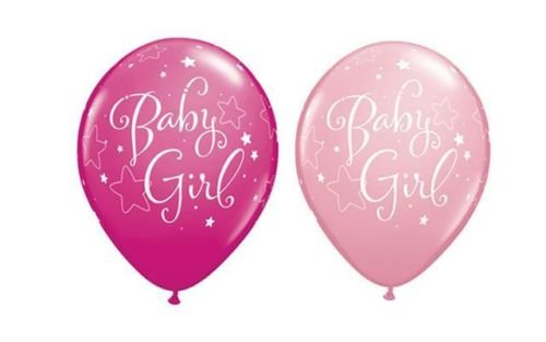 Neuf Bébé Fille Rose Étoiles et Baie Sauvage Rose Qualatex 11 Pouces Latex Ballons X 10