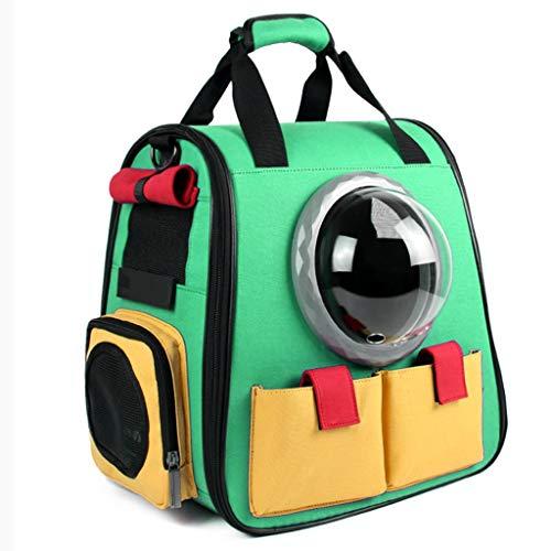 ZZL Mochila de viaje para gatos y cachorros, para senderismo, camping, bolsa espacial, diseño de burbujas, impermeable, borde suave, ajustable, cómoda (color: verde)