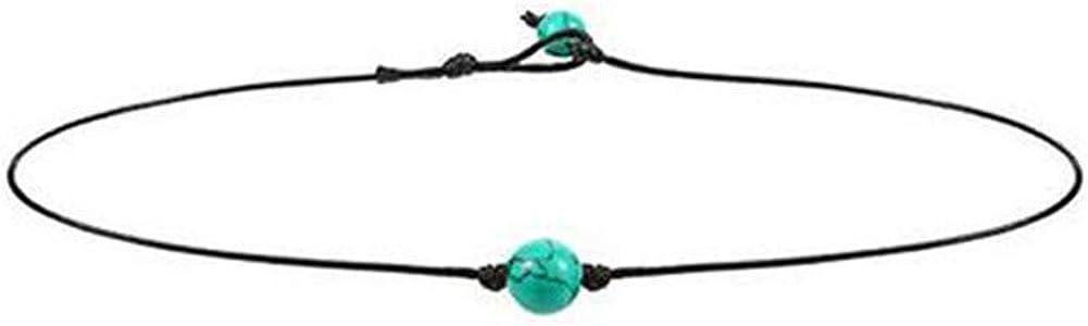 QIAMNI Bohemian Black Rope Ball Bead Green Stone Choker Necklace Collar Ocean Sea Beach Jewelry for Women Girls Birthday Gift