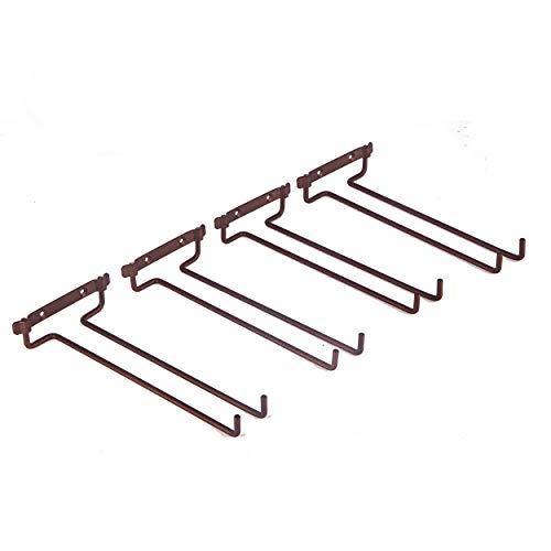 Set mit 4 Stielgläsern zum Aufhängen von Weingläsern, Wandhalterung, Metall-Organizer für Bar, Küche, unter dem Schrank