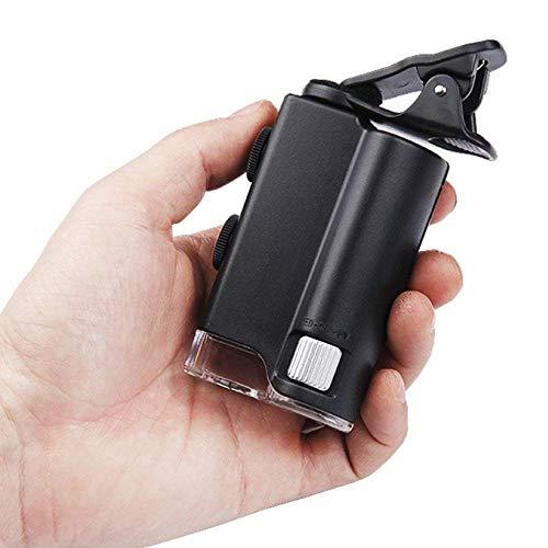 rzoizwko Lupa Iluminación multifunción Lupa Mini microscopio de teléfono Lupa portátil 60-100X HD Óptica Lente de Vidrio con luz LED Luz UV Negro